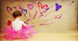Little Girl, Tutu, Painting Hearts