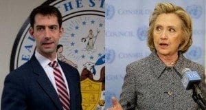 Senator Tom Cotton, Hillary Clinton
