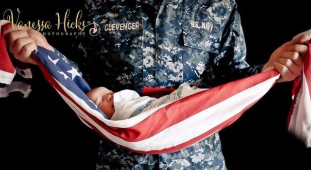 American Flag Baby, US Navy Dad, Vanessa Hicks Photography