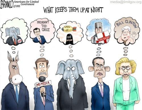 Keeping Them Up Nights, Republicans, Democrats, Hillary Clinton, Barack Obama, Cartoon humor