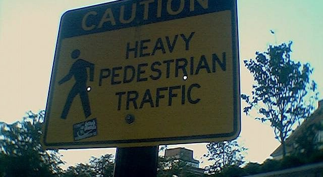 Caution Sign, Heavy Pedestrian Traffic
