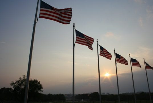Political Campaigns, American flags, sunset, sunrise