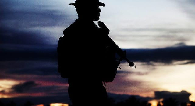 Silhouette Of A Warrior, US Marine Corps