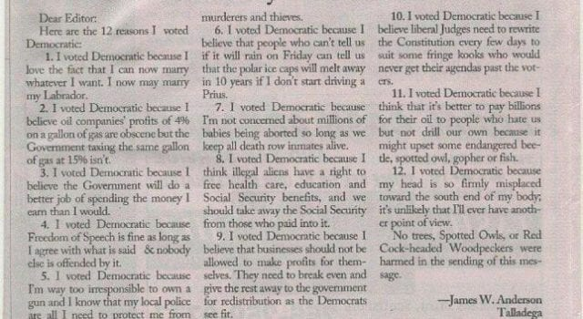 12 Reasons I voted Democrat