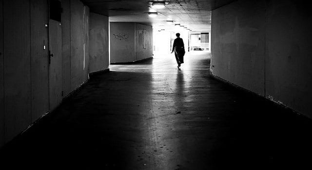 Exiled, Ostracized, Alone, Hallway, Walking, Shadows, Sillouette