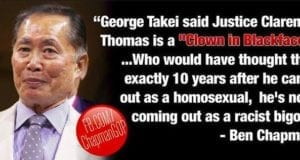 George Takei, Justice Clarence Thomas, Blackface Clown