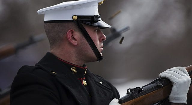 US Marine, rifle salute