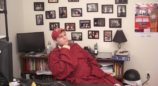 Man In A Snuggie, Cold, Temperature, Office