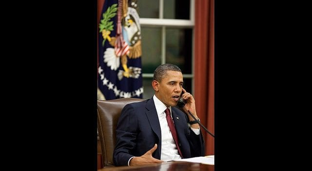 President Obama, On The Phone, Oval Office