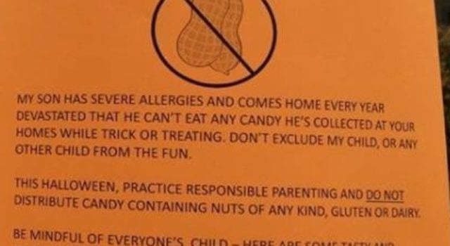 Attention Parents, Nut Allergies, Halloween