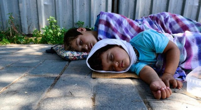 Syrian Refugee, Woman, Girl, Sleeping