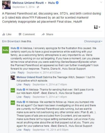 Hulu, Facebook, Planned Parenthood, Plan B