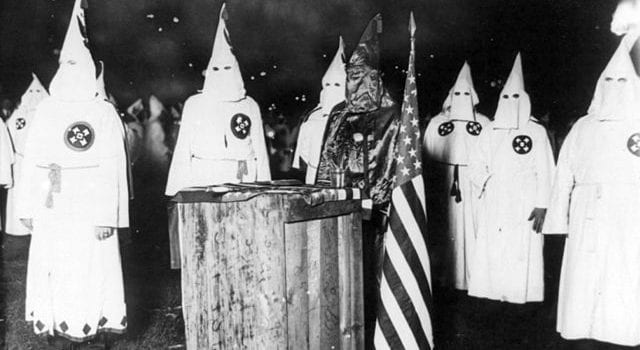 KKK night rally in Chicago c1920, via Library Of Congress