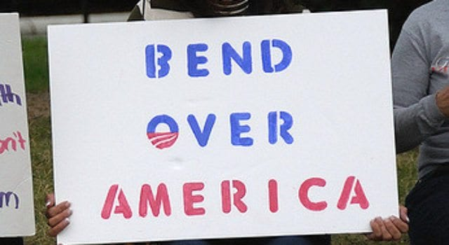 Bend Over America, Obama, protester