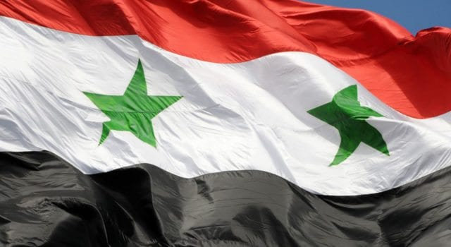 The flag of Syrian Arab Republic, Damascus Syria