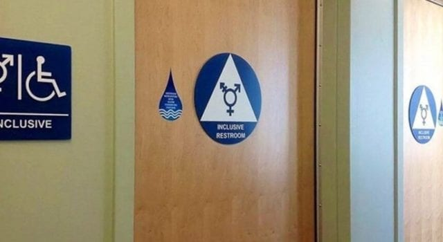 Gender neutral, bathroom sign