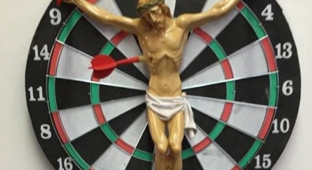 Jesus On Dartboard, Rutgers University, Artwork