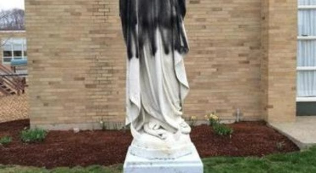 Norwood Virgin Mary Statue, Defaced, Allah