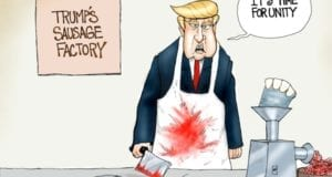 Donald Trump, GOP, Unity, Sausage-making, cartoon
