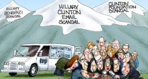 Hillary Clinton, Scandals, vs Donald Trump, Political cartoon
