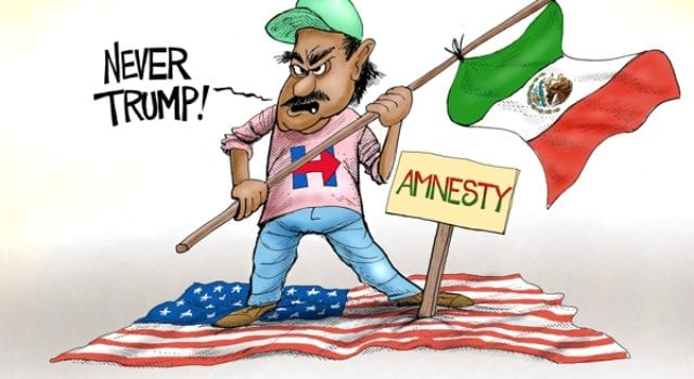 Pro Trump Recruitment Tool, #NeverTrump, Mexican, Amnesty, Donald Trump, political cartoon