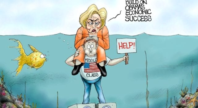 Hillary Clinton, Drowning the Middle Class, Political cartoon