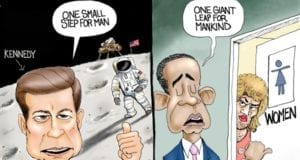 President Obama, John F. Kennedy, Legacy, Transgender Bathroom, Political cartoon