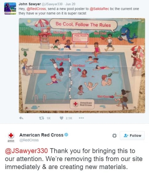Red Cross Tweet, Racist Pool Rule Poster