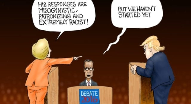 Hillary Clinton, Donald Trump, Debate 2016, political cartoon