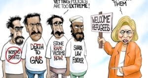 Hillary Clinton, Extreme vetting, refugees, political cartoon