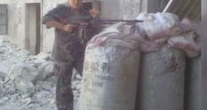 Syrian Army soldier, female, video still