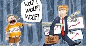 Media, Cry Wolf, Trump, political cartoon
