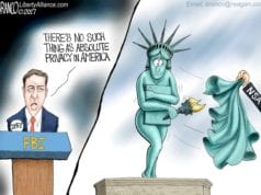 Privacy In The USA, FBI, Director James Comey, political cartoon
