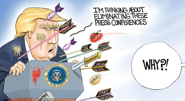 Trump Media Attack, Press Conference, Political Cartoon