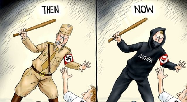 Nazi, Antifa, Free Speech, Political Cartoon