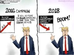Trump, Black, Unemployment, Jobs, Political Cartoon