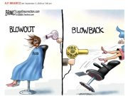Elitist Pelosi caught without a mask in a beauty salon getting her done, Double standards? Political cartoon by A.F. Branco Cartoon ©2020.