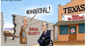 Biden Calls red state governors Neanderthals for opening their state while he opens the border. Political cartoon by A.F.Branco ©2021.
