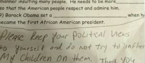 Teacher's homework is anti-Trump indoctrination