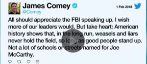 Comey thinks he has integrity!
